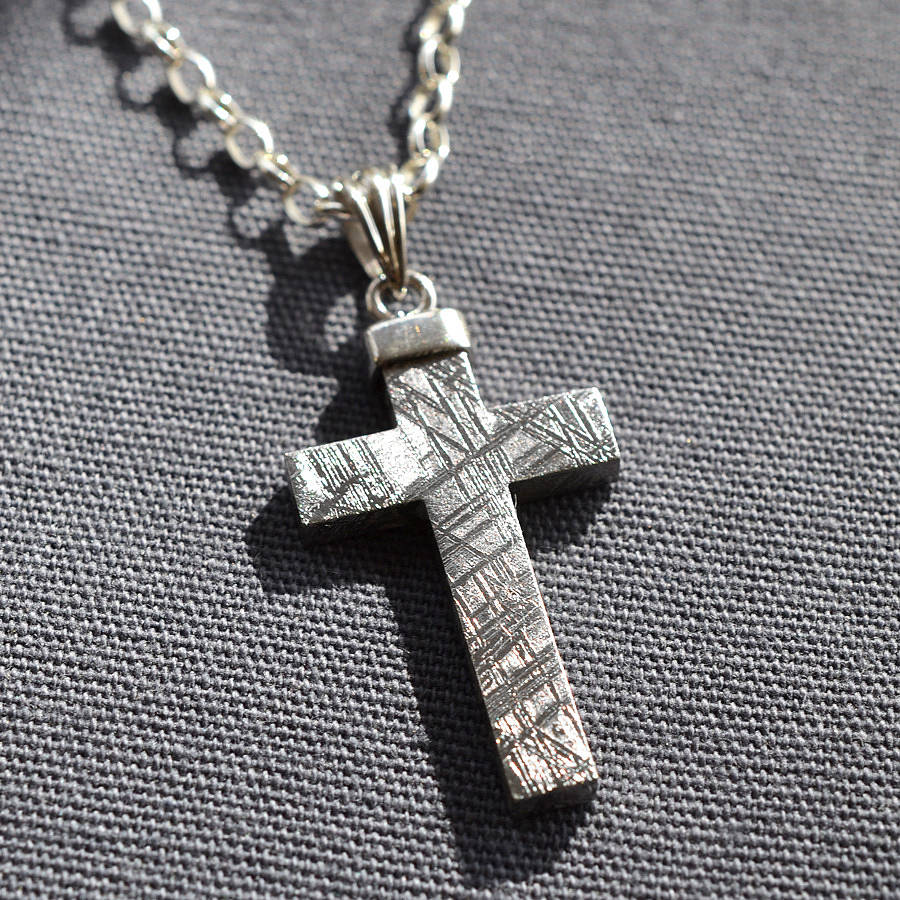 Meteorite and silver cross necklace by martha jackson sterling meteorite and silver cross necklace aloadofball Images