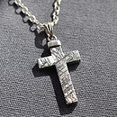 Meteorite And Silver Cross Necklace