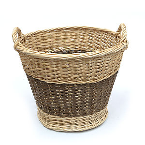Large Wicker Round Storage Log Basket