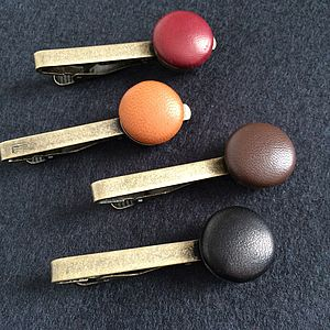 Vintage Leather Tie Clip - tie pins & clips