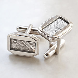 Meteorite And Silver Cufflinks - men's accessories