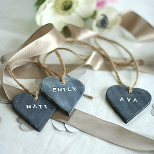 Six Personalised Slate Effect Heart Place Names - cards & wrap