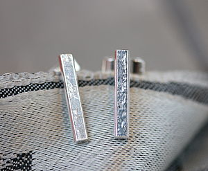 Handmade Silver Lace Long Studs