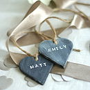Six Personalised Slate Effect Heart Place Names