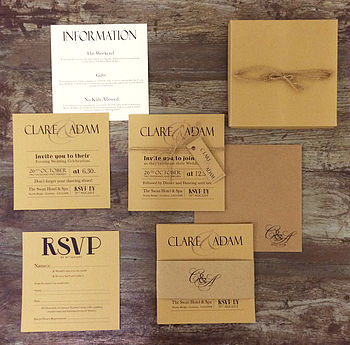 Vintage Print Wedding Invitation