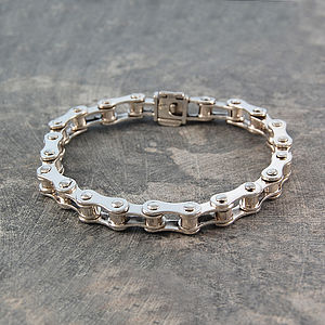 Bicycle Chain Men's Solid Sterling Silver Bracelet - men's jewellery