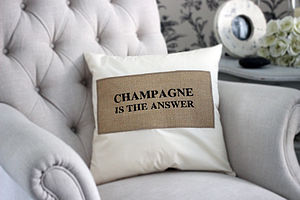 'Champagne Is The Answer' Cushion - embroidered cushions