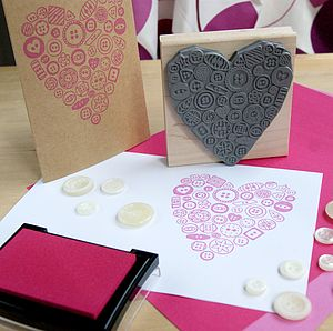 Large Button Heart Rubber Stamp