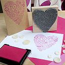 Large Button Heart Wedding Rubber Stamp