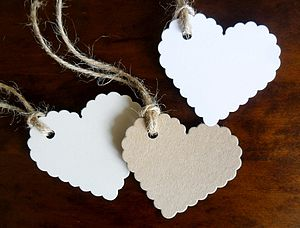 Pack Of Ten Handmade Heart Shaped Tags - wedding stationery