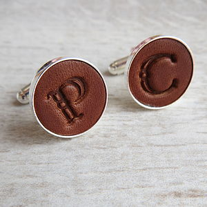 Leather Initial Cufflinks - gifts for him