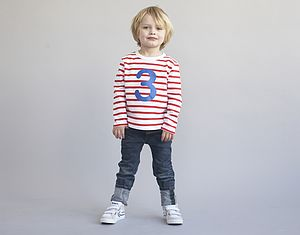 Age/ Number Kids T Shirt Red Breton - for under 5's