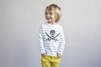 Skull Print Striped Kids T-shirts