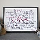 Personalised 'Memories Of Mum' Print