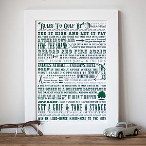 'Rules To Golf By' Screen Print - retirement gifts