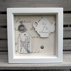 Box Framed 'Cup Of Tea Madame?' Labels