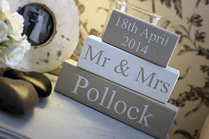 Mr & Mrs Wedding Blocks Personalised - table decorations