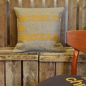 'Bubble And Squeak' Linen Appliqué Cushion - living room