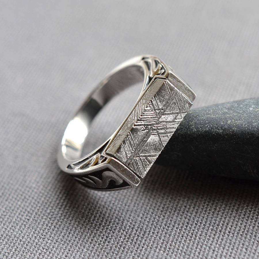 257 Gold Street >> meteorite signet ring by martha jackson sterling silver   notonthehighstreet.com