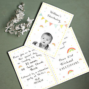 Personalised Colourful Christening Invitation - occasion