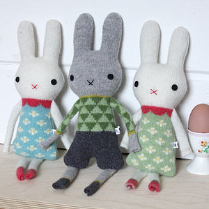 Knitted Lambswool Mini Bunny's - toys & games