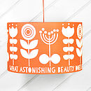 Scandi Flower Drum Lampshade In Orange