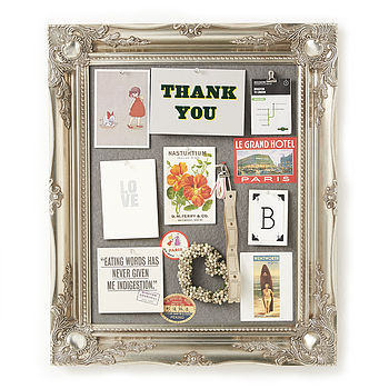 Ornate Silver Framed Pinboard Noticeboard