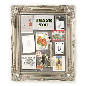 Ornate Silver Framed Pinboard Noticeboard - kitchen
