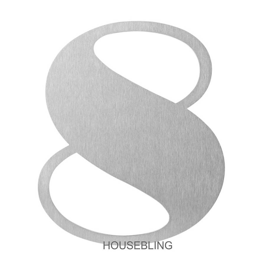 stainless steel art deco house number by housebling