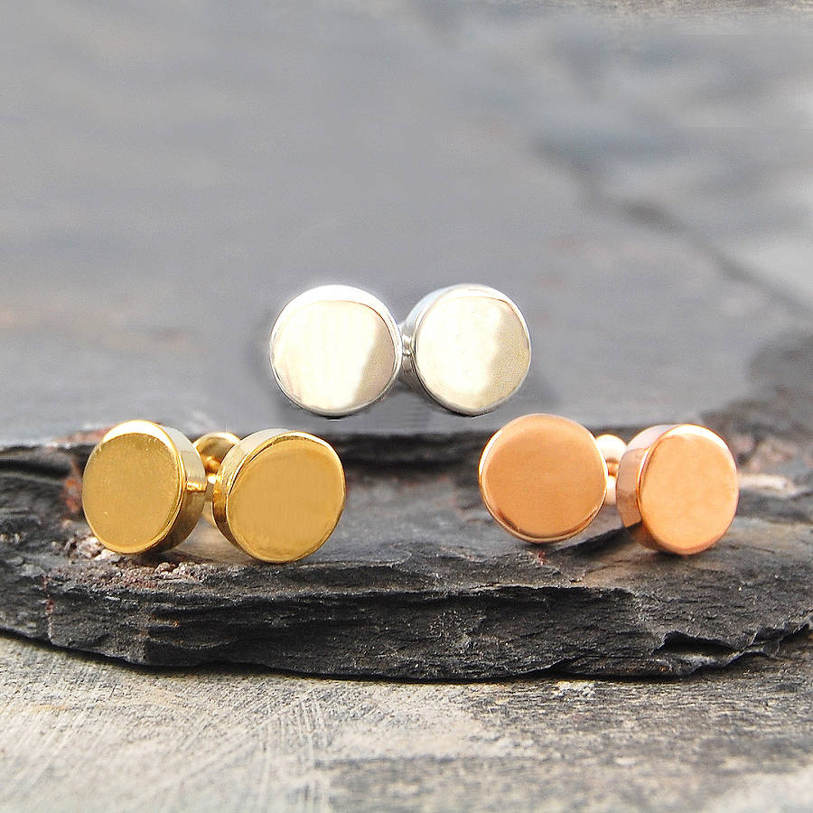 Disk Gold And Silver Stud Earrings