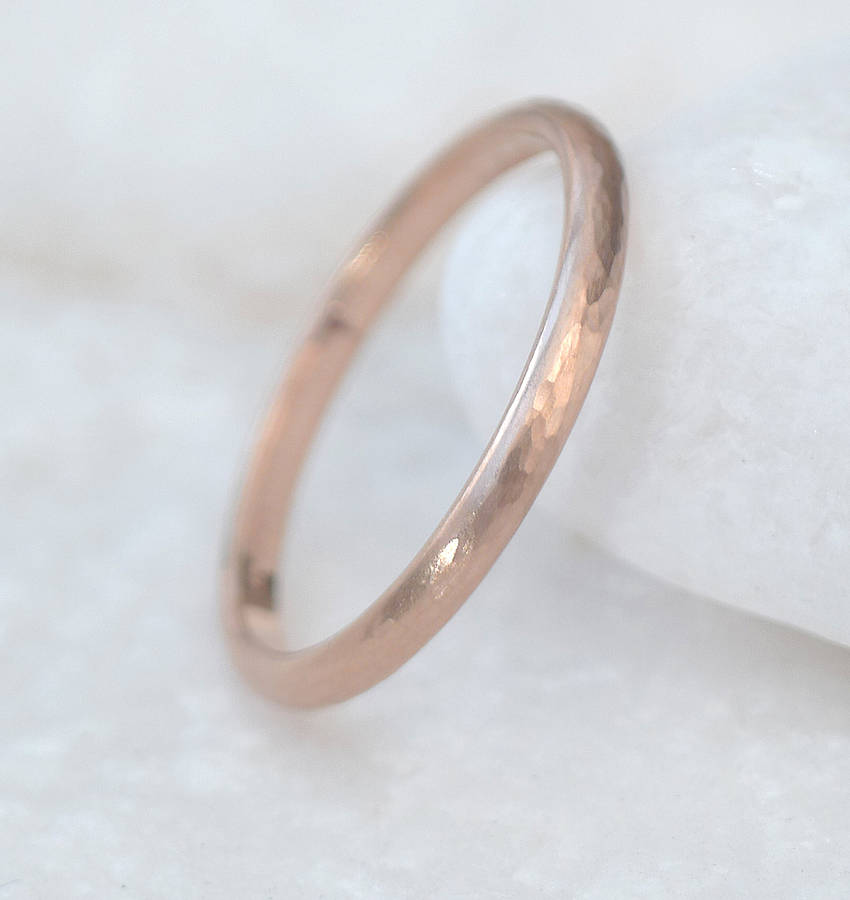 18ct rose gold wedding ring hammered finish by lilia nash jewellery