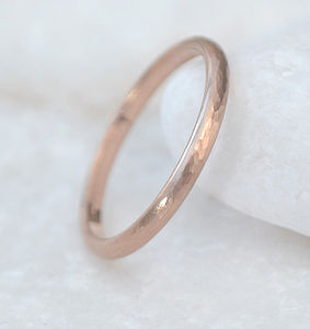 18ct Rose Gold Wedding Ring, Hammered Finish - rings