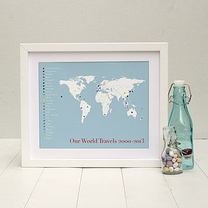 'The Globetrotter' Personalised Print - treasured places