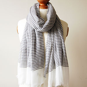 Navy Thin Stripe Scarf - contemporary women's fashion