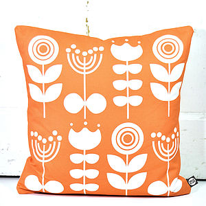 Scandi Flowers Cushion In Orange