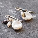 Silver And Pearl Organic Round Earrings