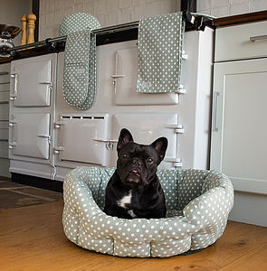 Organic Cotton Sage Polka Dot Pet Bed - beds & sleeping