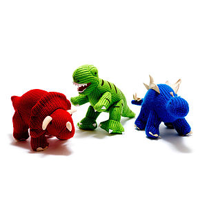 Knitted Dinosaur Rattle - soft toys & dolls