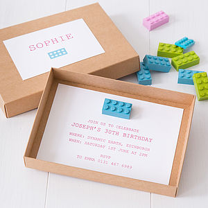 Building Block Party Invitations