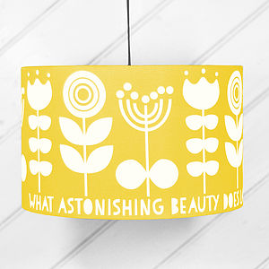 Scandi Flower Drum Lampshade In Yellow - children's room accessories