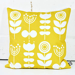 Scandi Flowers Cushion In Yellow