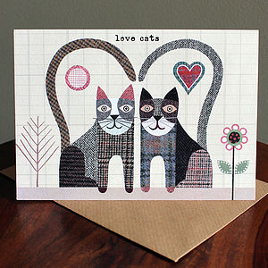 'Love Cats' Card - wedding, engagement & anniversary cards