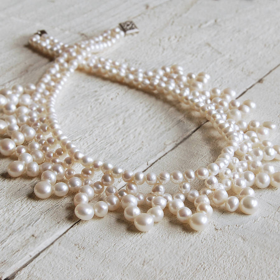 Vintage Pearl Choker Necklace: Vintage Style Pearl Collar Necklace By Highland Angel