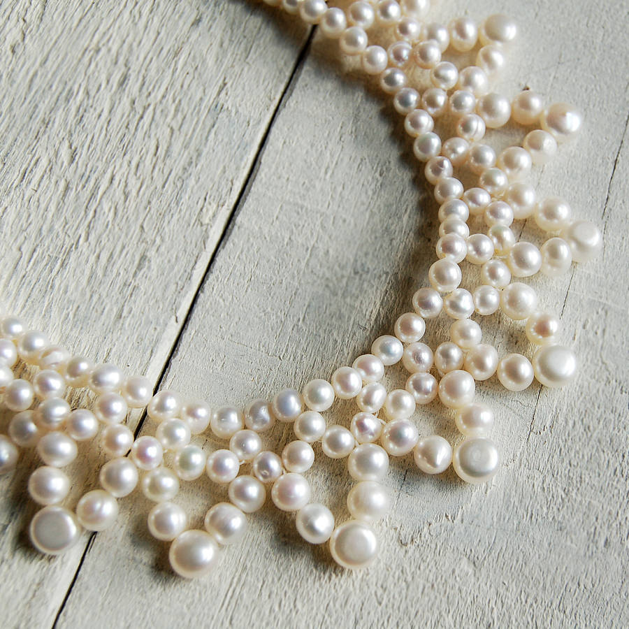 Pearl Necklace Styles: Vintage Style Pearl Collar Necklace By Highland Angel