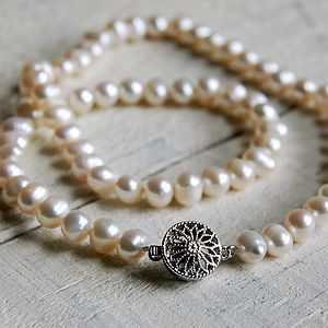 Pearl Necklace With Round Vintage Style Clasp - necklaces & pendants