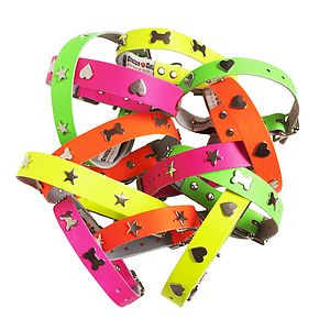 Neon Handmade Leather Collar - dogs