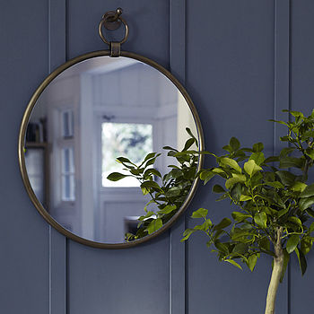 Indar Hanging Mirror And Hook, Brass