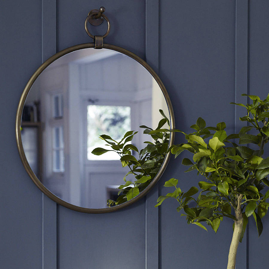Indar Hanging Mirror And Hook Brass By Rowen Amp Wren