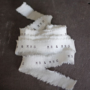 Mr And Mrs Wedding Ribbon Frayed Edges 4m - wedding stationery