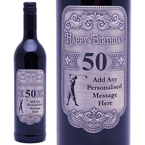 Personalised 50th Pewter Red Wine For Golfers